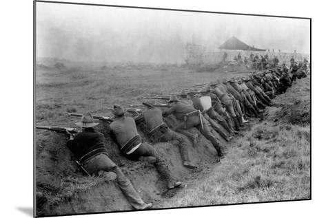 American Soldiers Practicing Shooting During Spanish-American War--Mounted Photographic Print