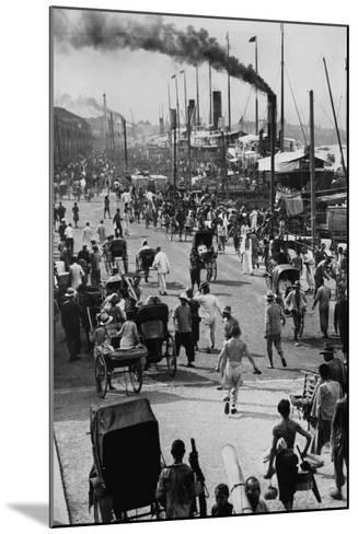Crowds on the Bund in Shanghai--Mounted Photographic Print