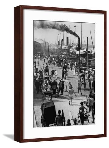 Crowds on the Bund in Shanghai--Framed Art Print