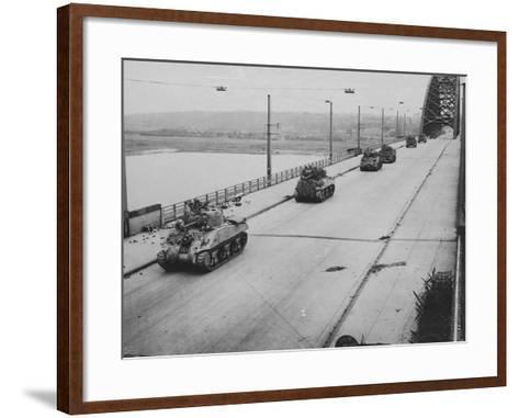 Tanks Cross Nijmegen Bridge--Framed Art Print