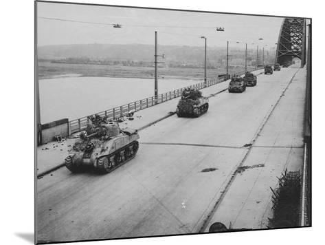 Tanks Cross Nijmegen Bridge--Mounted Photographic Print