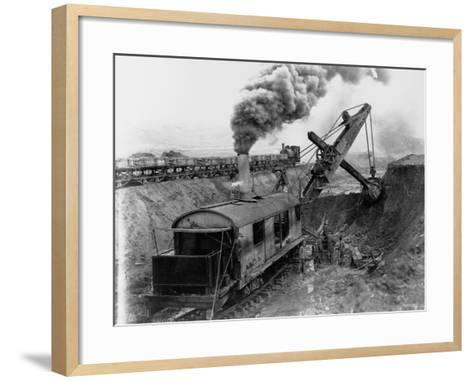 Steam Shovel Digging Ditch for Western Pacific Railroad--Framed Art Print