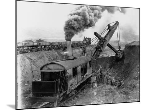 Steam Shovel Digging Ditch for Western Pacific Railroad--Mounted Photographic Print