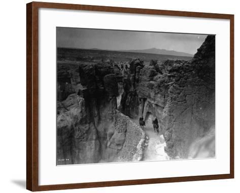 Old Trail at Acoma-Edward S^ Curtis-Framed Art Print