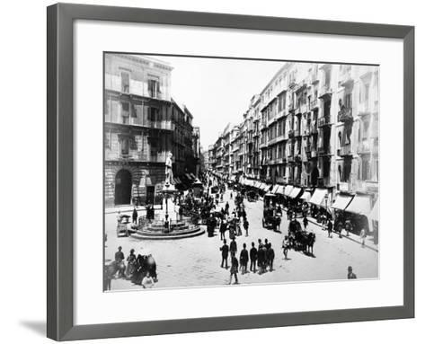 Via Roma, Naples, About 1880--Framed Art Print