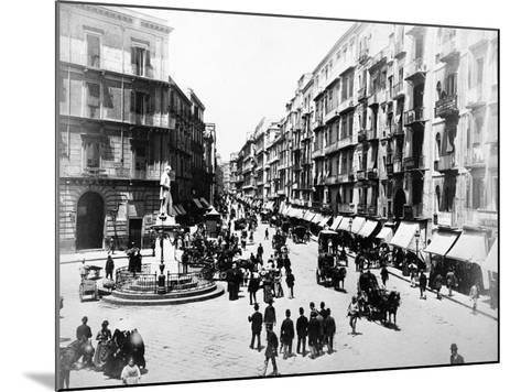 Via Roma, Naples, About 1880--Mounted Photographic Print