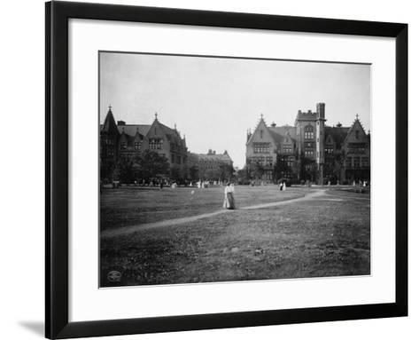 Students at University of Chicago Campus--Framed Art Print