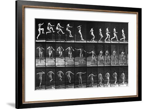 Nude Woman Hurdling--Framed Art Print