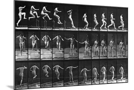 Nude Woman Hurdling--Mounted Photographic Print