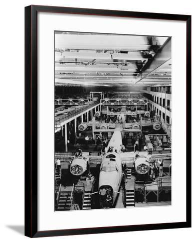 Assembly of B-24 Bombers at Willow Run Plant--Framed Art Print