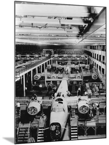 Assembly of B-24 Bombers at Willow Run Plant--Mounted Photographic Print