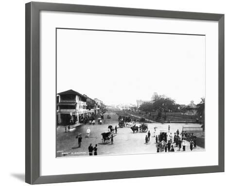 Nineteenth Century Street Scene in Singapore--Framed Art Print