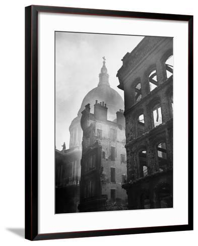 Saint Paul's Cathedral Admist Ruins--Framed Art Print
