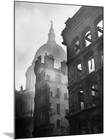Saint Paul's Cathedral Admist Ruins--Mounted Photographic Print