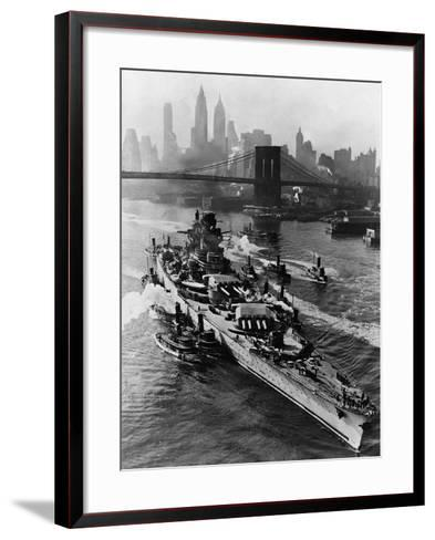 French Battleship Richelieu Passes Brooklyn Bridge--Framed Art Print