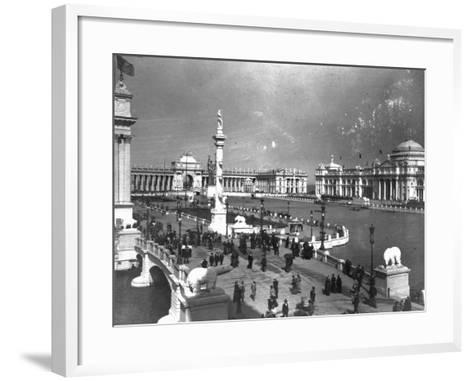 Visitors Strolling at Chicago Exposition--Framed Art Print