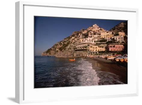 Beach in Positano, Italy-Vittoriano Rastelli-Framed Art Print
