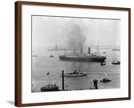 The S.S. Imperator in New York Harbor-A^ Loeffler-Framed Art Print