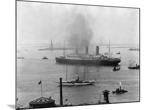 The S.S. Imperator in New York Harbor-A^ Loeffler-Mounted Photographic Print