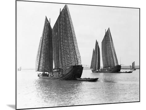 Junks on the Yangtze River--Mounted Photographic Print