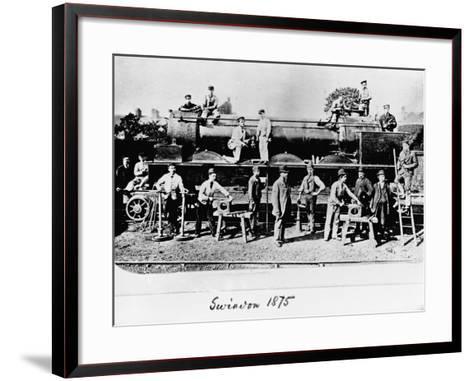 Men and Wolverhampton Locomotive--Framed Art Print