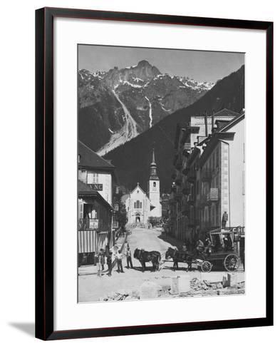 Horse-Drawn Carriage in Chamonix--Framed Art Print
