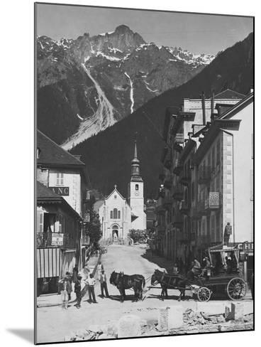 Horse-Drawn Carriage in Chamonix--Mounted Photographic Print