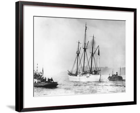 Amundsen's Vessel Returns from the Arctic--Framed Art Print