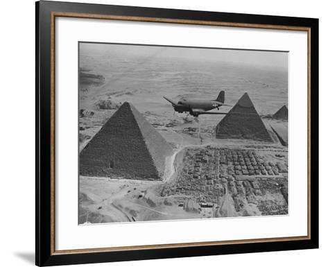 Army Supply Plane over the Pyramids--Framed Art Print