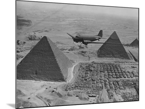 Army Supply Plane over the Pyramids--Mounted Photographic Print