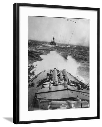 HMS Audacious in a Storm--Framed Art Print