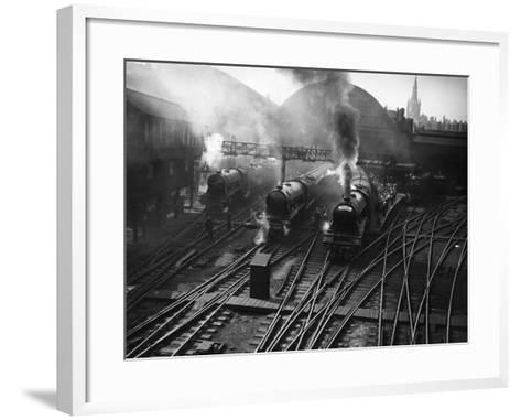 Holiday Expresses About to Leave King's Cross Station--Framed Art Print