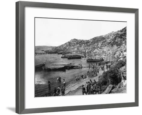 Troops Landing at Anzac Cove, Gallipoli--Framed Art Print