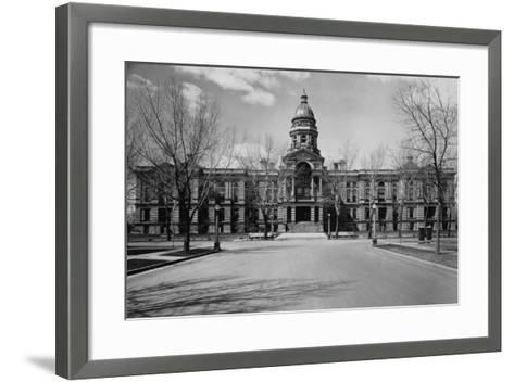 Capitol Building at the End of a Cheyenne Street--Framed Art Print