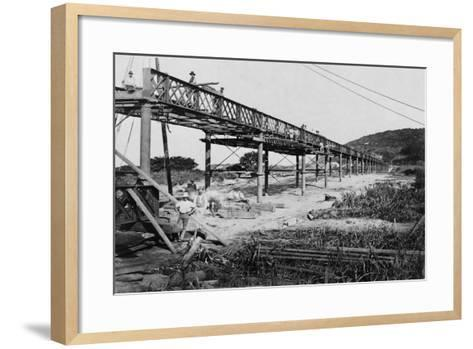 Men Build a Railway Bridge--Framed Art Print