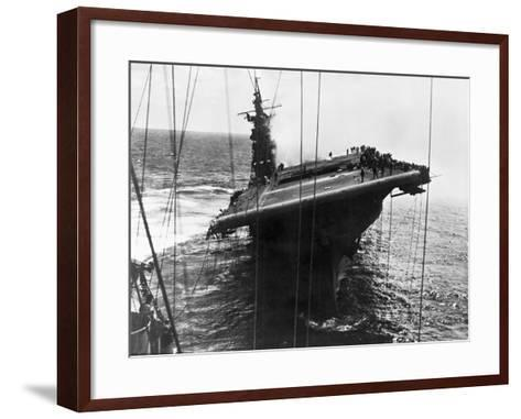Damaged U.S. Aircraft Carrier Franklin--Framed Art Print