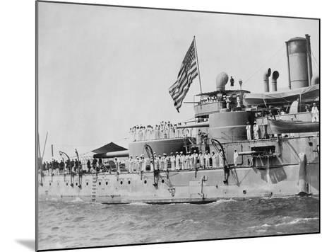 USS Massachusetts Warship--Mounted Photographic Print