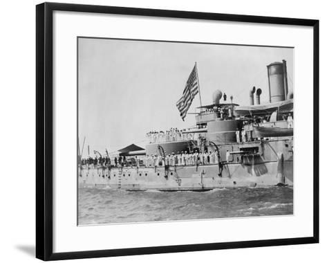 USS Massachusetts Warship--Framed Art Print