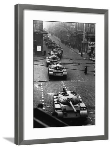 Russian Tanks on Budapest Street in 1956--Framed Art Print