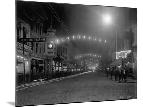 King Street, Charleston, South Carolina at Night--Mounted Photographic Print