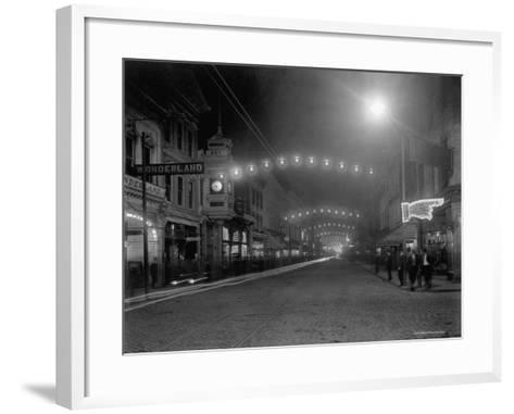 King Street, Charleston, South Carolina at Night--Framed Art Print