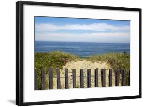 Fence and Sand Dunes on Coast-Paul Souders-Framed Art Print