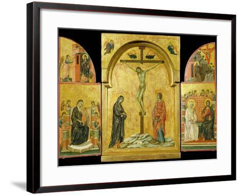 Crucifixion Altarpiece-Duccio di Buoninsegna-Framed Art Print