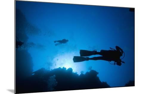 Scuba Divers Swimming Near Reef-Paul Souders-Mounted Photographic Print