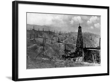 Oil Rigs Near Taft, California--Framed Art Print