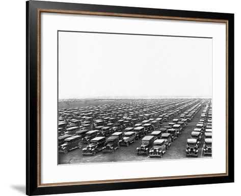 Car-Filled Soldier Field Parking Lot--Framed Art Print