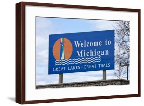 Welcome to Michigan Sign-Paul Souders-Framed Art Print