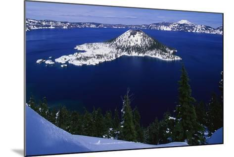 Snow Covered Wizard Island on Crater Lake-Paul Souders-Mounted Photographic Print