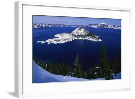 Snow Covered Wizard Island on Crater Lake-Paul Souders-Framed Art Print