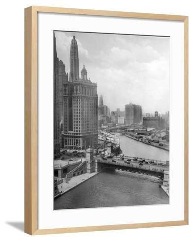 Downtown Chicago View Looking West, Ca. 1928--Framed Art Print